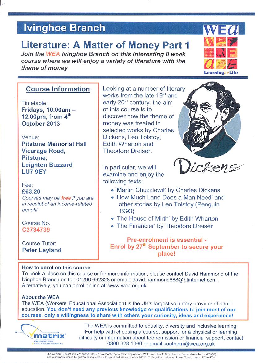 Literature: A Matter of Money Part 1 Course Poster