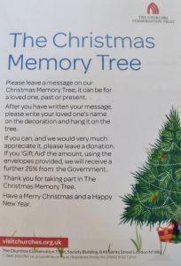 Churches Conservation Trust poster for Christmas Memory Tree event