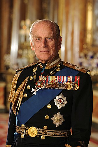HRH Prince Philip in military uniform with medals